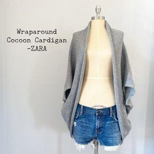 Heather Gray Wraparound Cocoon Cardigan by Zara